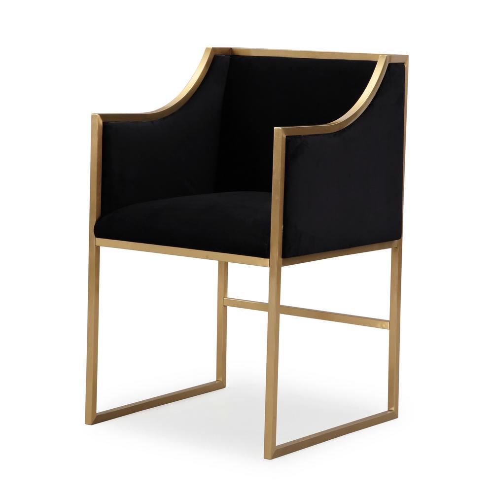 Atara Black Velvet Gold Chair