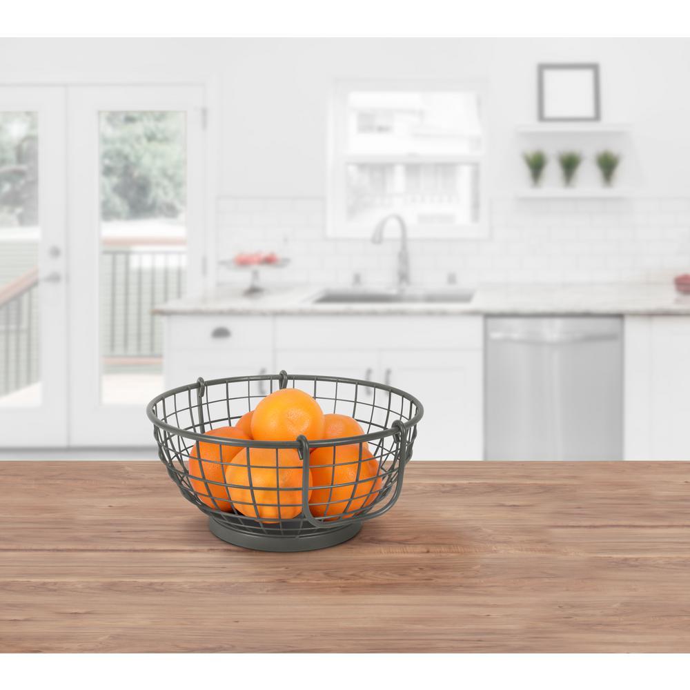 Mason Fruit Bowl Basket Industrial Gray Kitchen Organizer