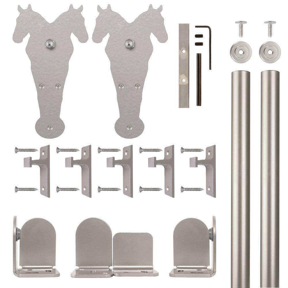 Double Horse Satin Nickel Rolling Door Hardware Kit for 3/4 in.