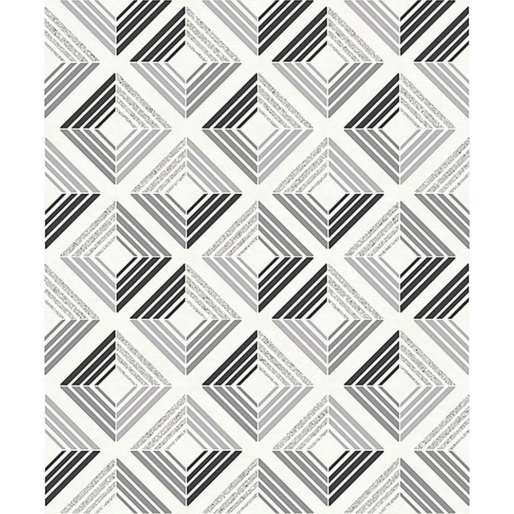 56.4 sq. ft. Echo Charcoal Geometric Wallpaper