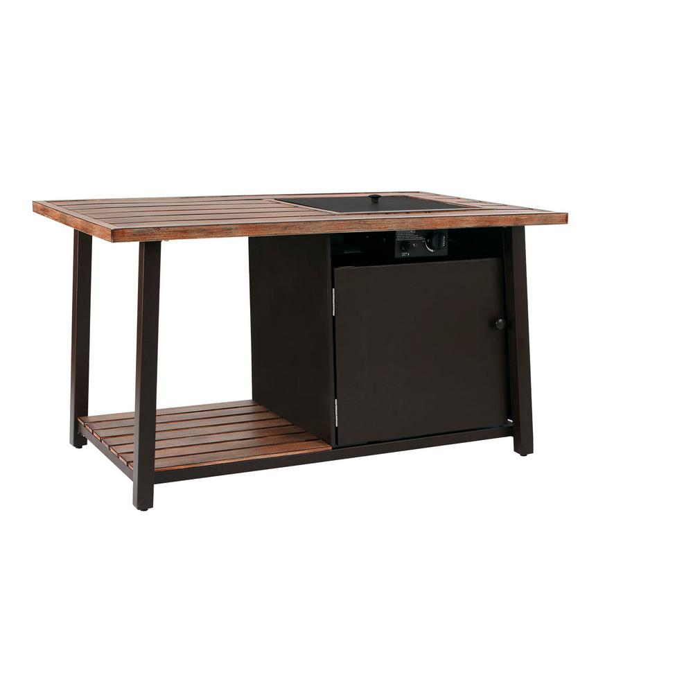 Hampton Bay Fordham 46 In W X 26 H Rectangular Powder Coated Steel Lp Fire Pit Coffee Table Faux Wood With Lava Rocks