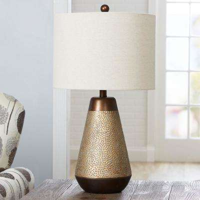 Perry Hammered 26 in. Gold Table Lamp with Shade