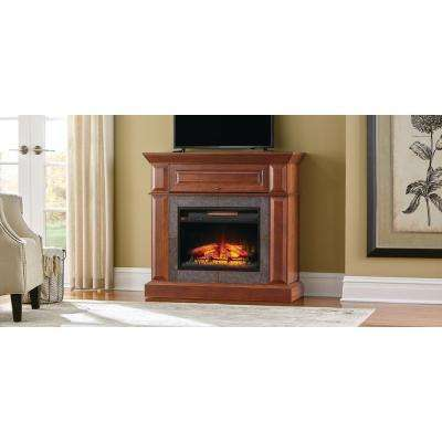Mantel Console Infrared Electric Fireplace In Medium Cherry Finish In 39 In