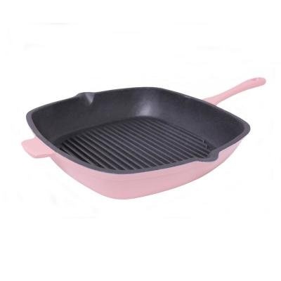 Neo11 in.  Cast Iron Square Pink Grill Pan