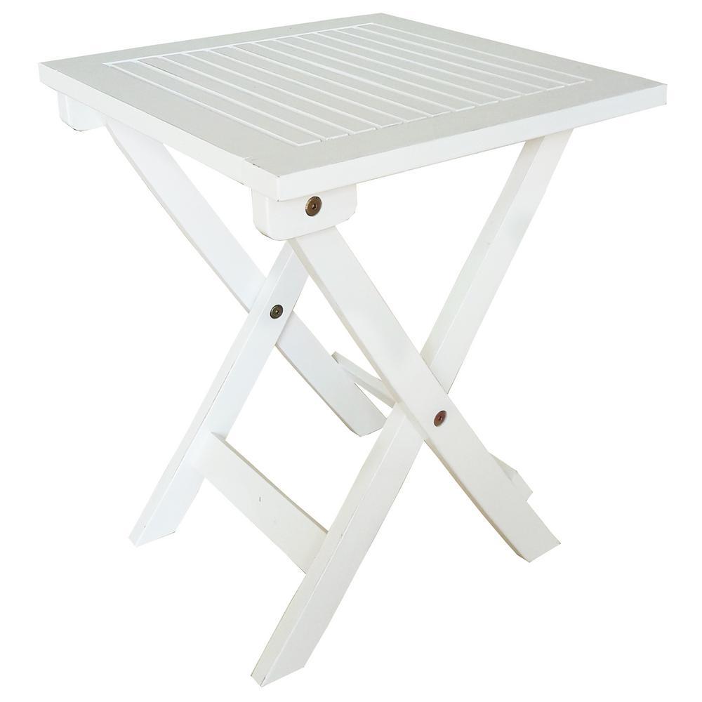 White Wood Outdoor Side Table Folding Adirondack