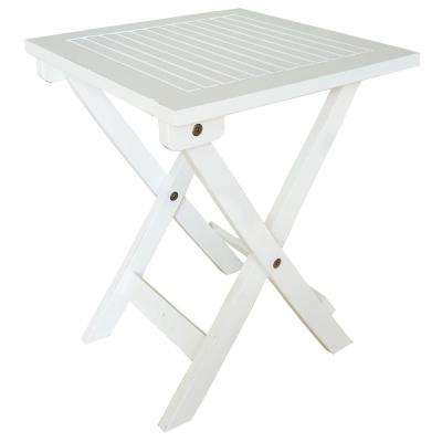 White Wood Outdoor Side Table Folding Adirondack