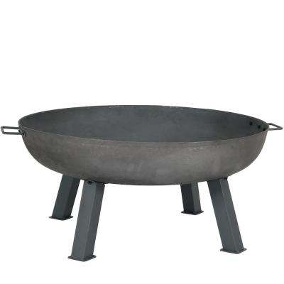 34 in. x 15 in. Round Cast Iron Wood Burning Fire Pit Bowl in Steel