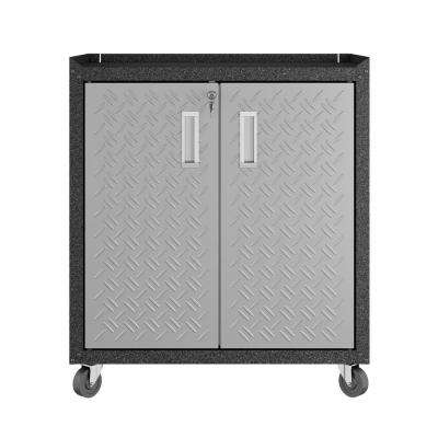 Fortress 31.5 in. H x 30.3 in. W x 18.2 in. D Textured Metal Freestanding Cabinet with 2 Adjustable Shelves in Gray