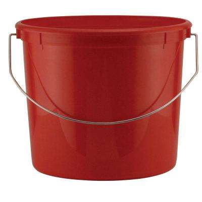 5-Qt. Red Plastic Bucket with Steel Handle (Pack of 3)