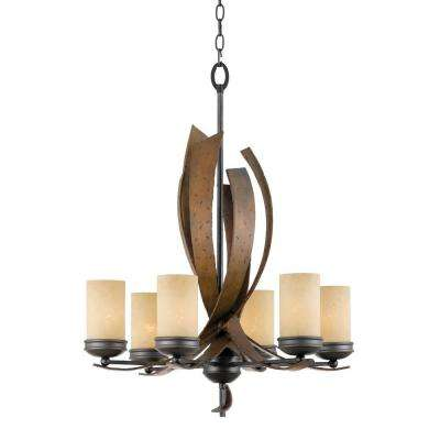 Aizen 6-Light Hammered Ore Chandelier with Aspen Bronze Accents and Tea Stained Glass
