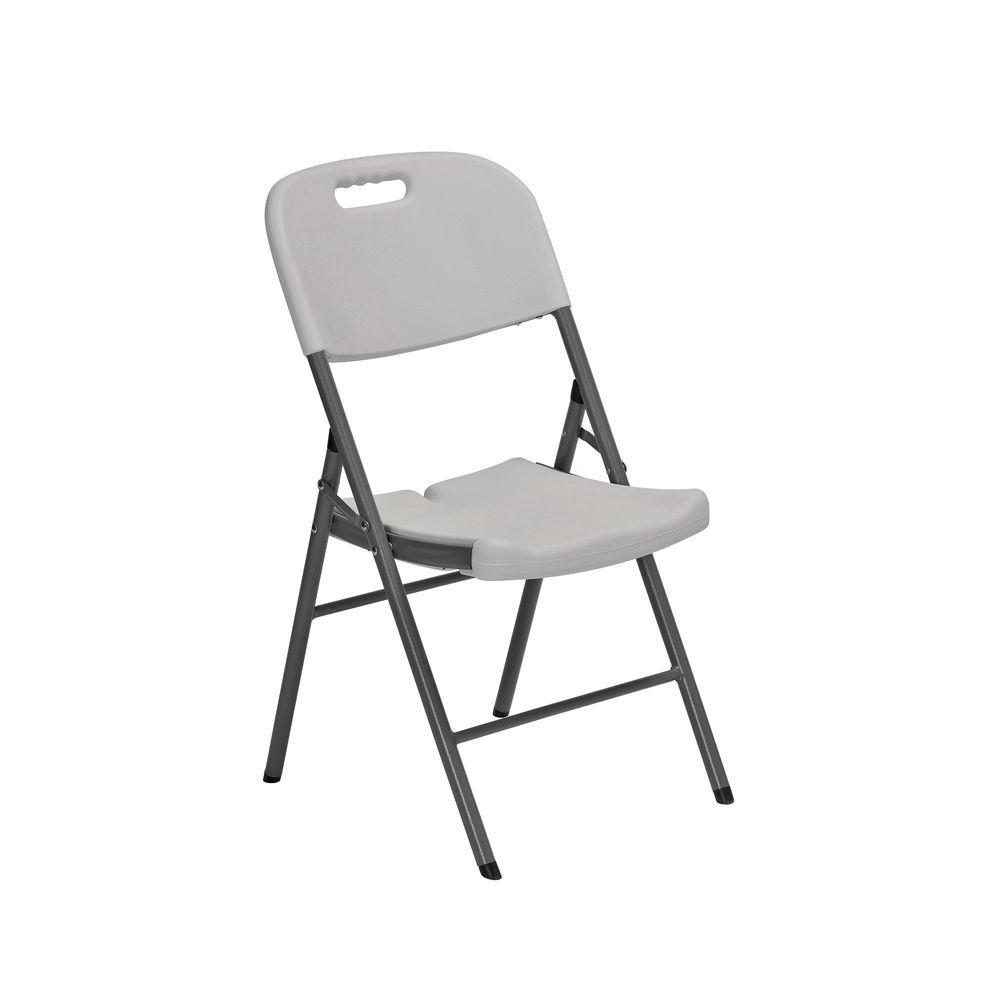 Sandusky White Plastic Seat Metal Frame Outdoor Safe Folding Chair (Set of 4)