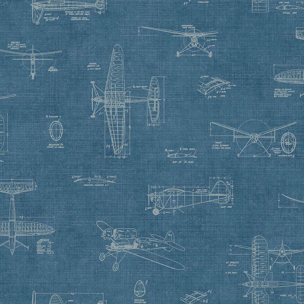 Chesapeake Douglas Blue Vintage Planes Wallpaper Man02724