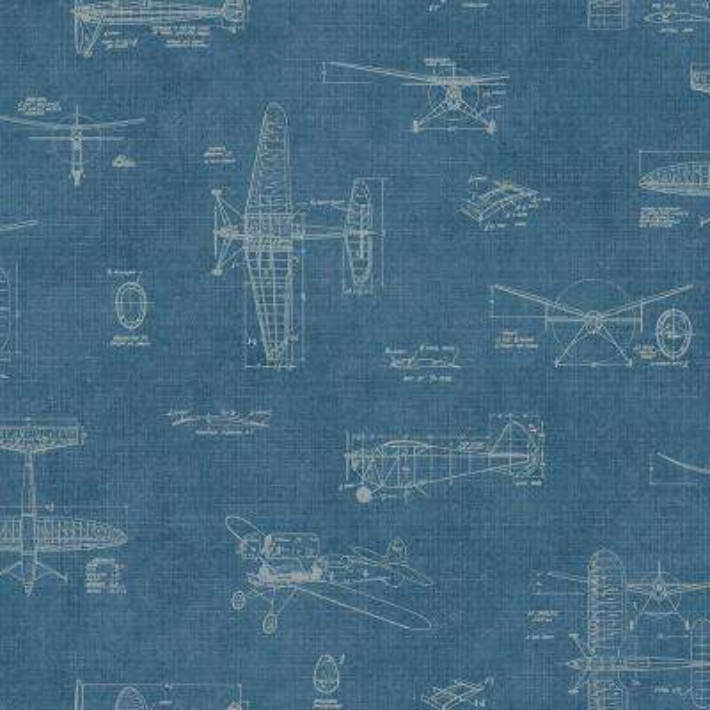 Douglas Blue Vintage Planes Wallpaper