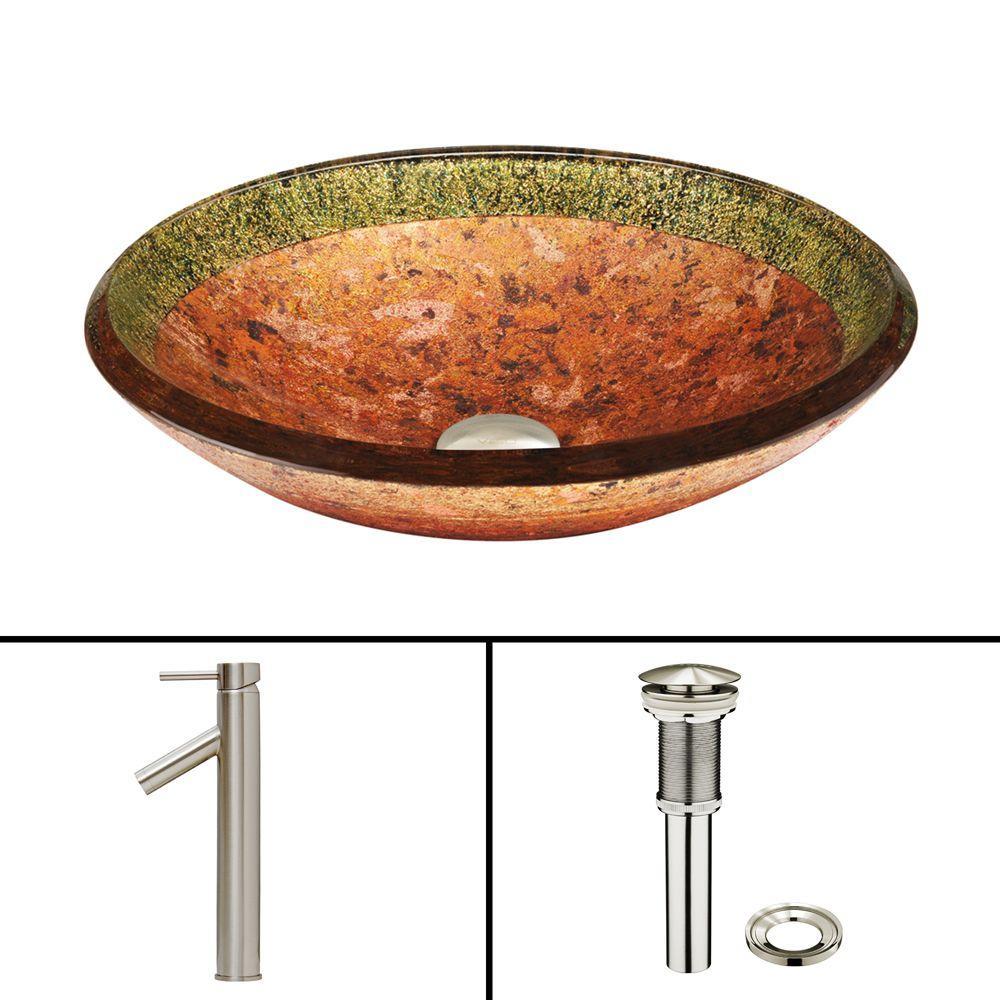 VIGO Glass Vessel Sink in Janus and Dior Faucet Set in Brushed Nickel