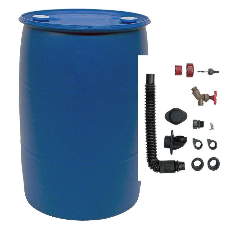 EarthMinded 55 Gal Blue Plastic Drum DIY Rain Barrel Bundle with