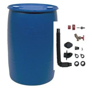 55 Gal Blue Plastic Drum Diy Rain Barrel Bundle With Diverter System