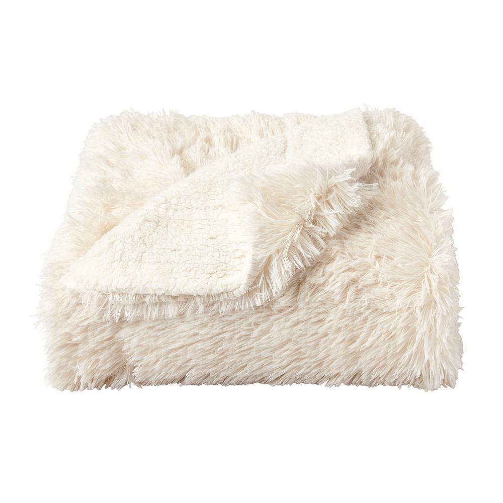 Oversized Long Pile Chiffon White Faux Fur Hypoallergenic Throw Blanket