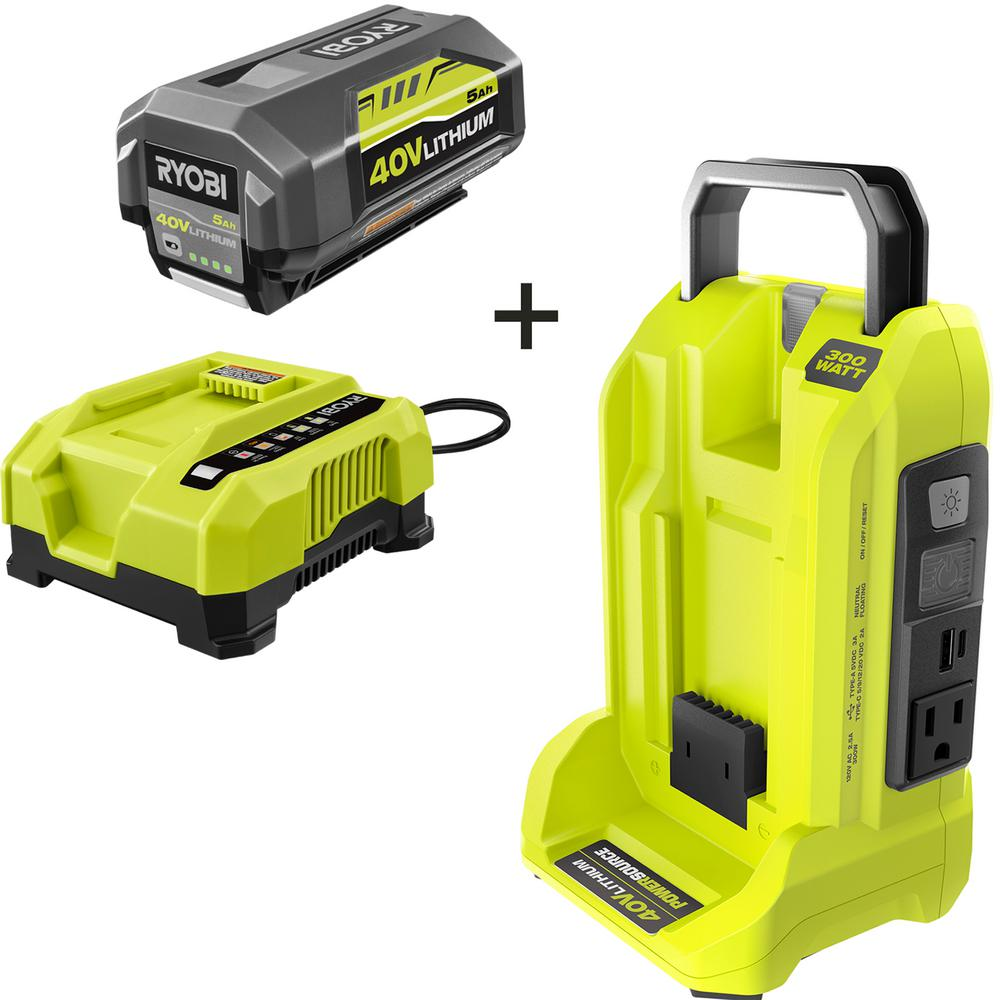RYOBI 300 Watt Powered Inverter for 40Volts Battery with 5 Ah Battery and Rapid Charger