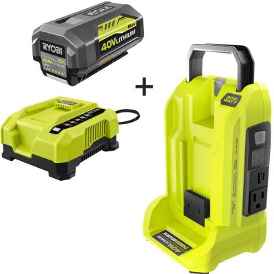 300-Watt Powered Inverter for 40-Volt Battery with 5 Ah Battery and Rapid Charger