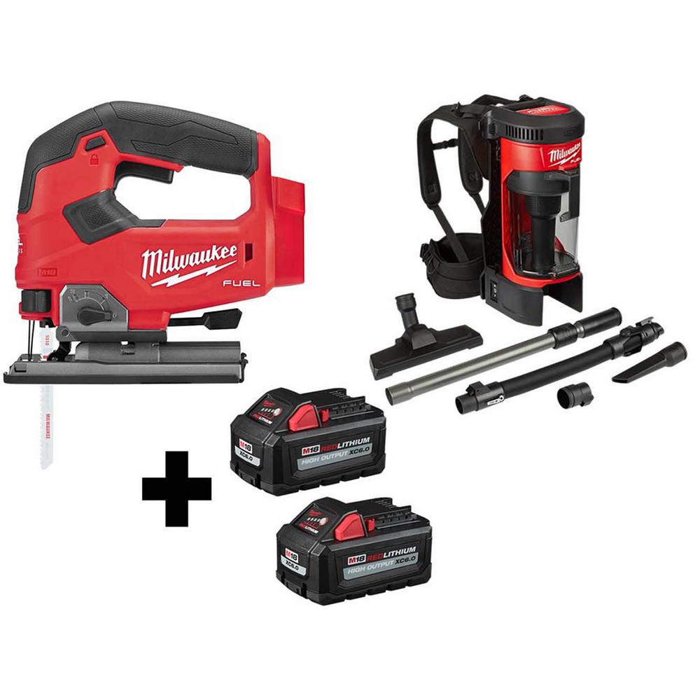 M18 FUEL 18-Volt Lithium-Ion Brushless Cordless Jig Saw and 3-in-1 Backpack Vacuum with (2) 6.0Ah Batteries