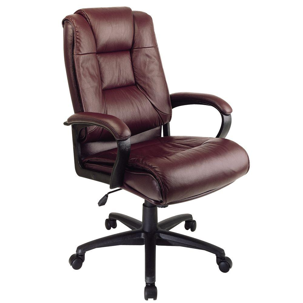Work smart burgundy leather high back executive office for Home office chairs leather