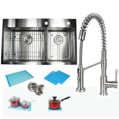 Topmount Drop-In 16-Gauge Stainless Steel 36 in. x 22 in x 10 in. 60/40 Offset Double Bowl Kitchen Sink and Faucet Combo