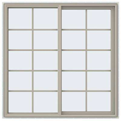 59.5 in. x 59.5 in. V-4500 Series Right-Hand Sliding Vinyl Window with Grids - Tan