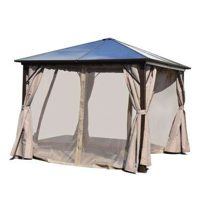 10 ft. x 10 ft. Aluminum Hardtop Gazebo in Brown