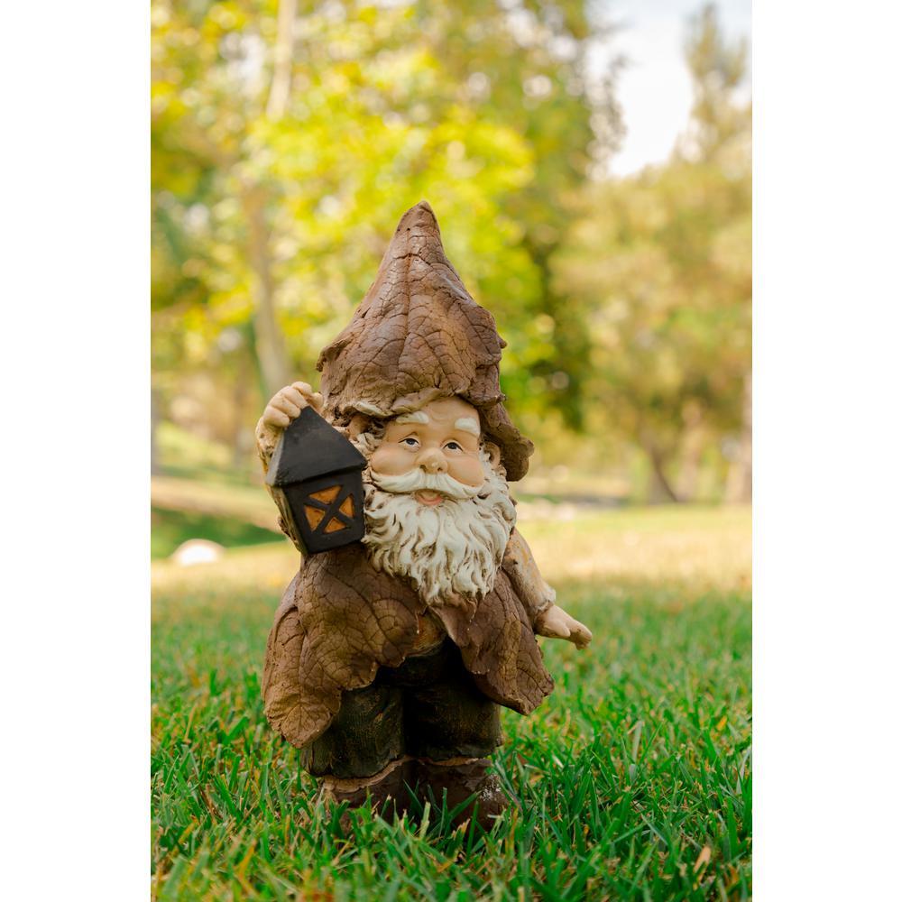 Incroyable Alpine Rainforest Gnome With Lantern Garden Statue