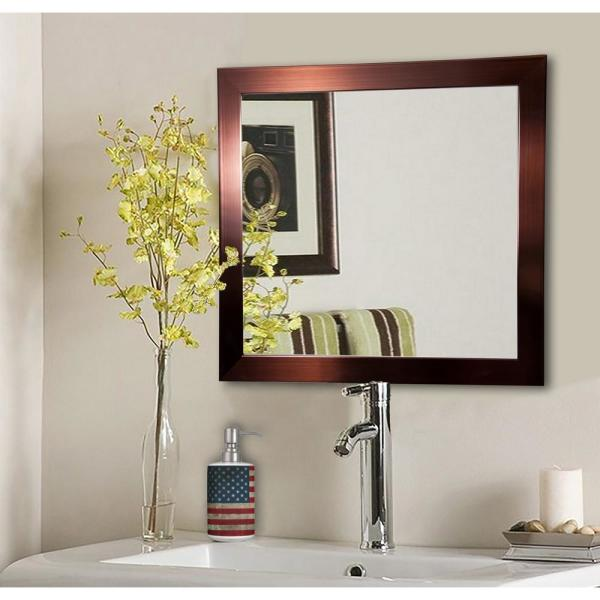 27.5 in. x 27.5 in. Shiny Bronze Square Vanity Wall Mirror