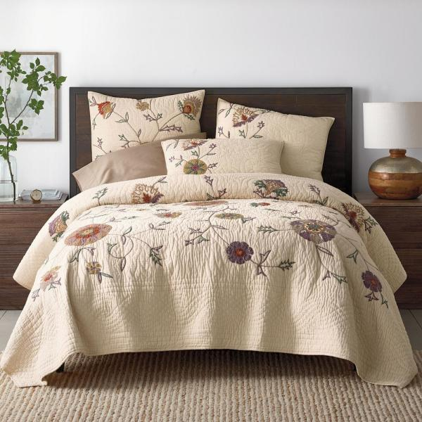 The Company Store Gatehouse Floral Multi Cotton Blend Twin Quilt 50292Q-T-MULTI