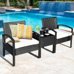 3-Piece Wicker Rattan Patio Conversation Set Table and Chairs Set with White Cushions