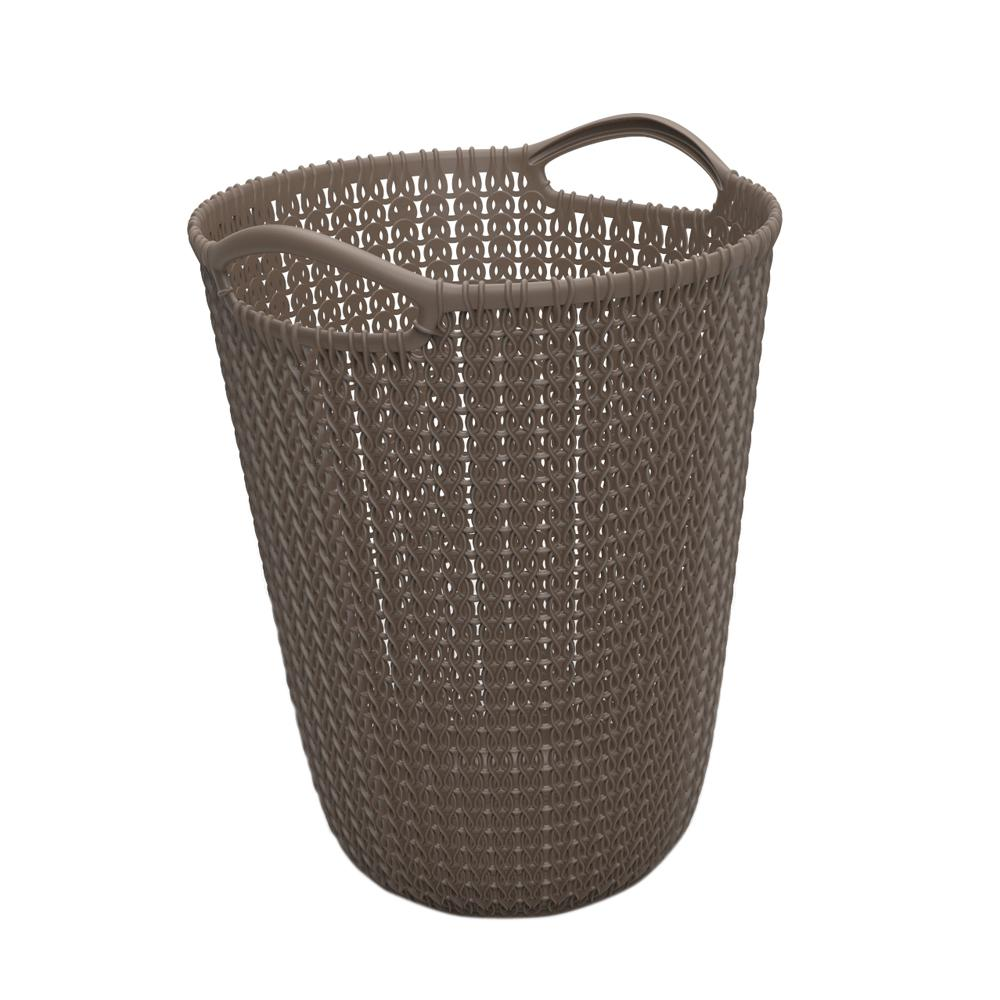 2d4d9aa35c08 Keter 3 Gal. Brown Knit Round Waste Basket-234308 - The Home Depot