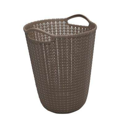 3 Gal. Brown Knit Round Waste Basket