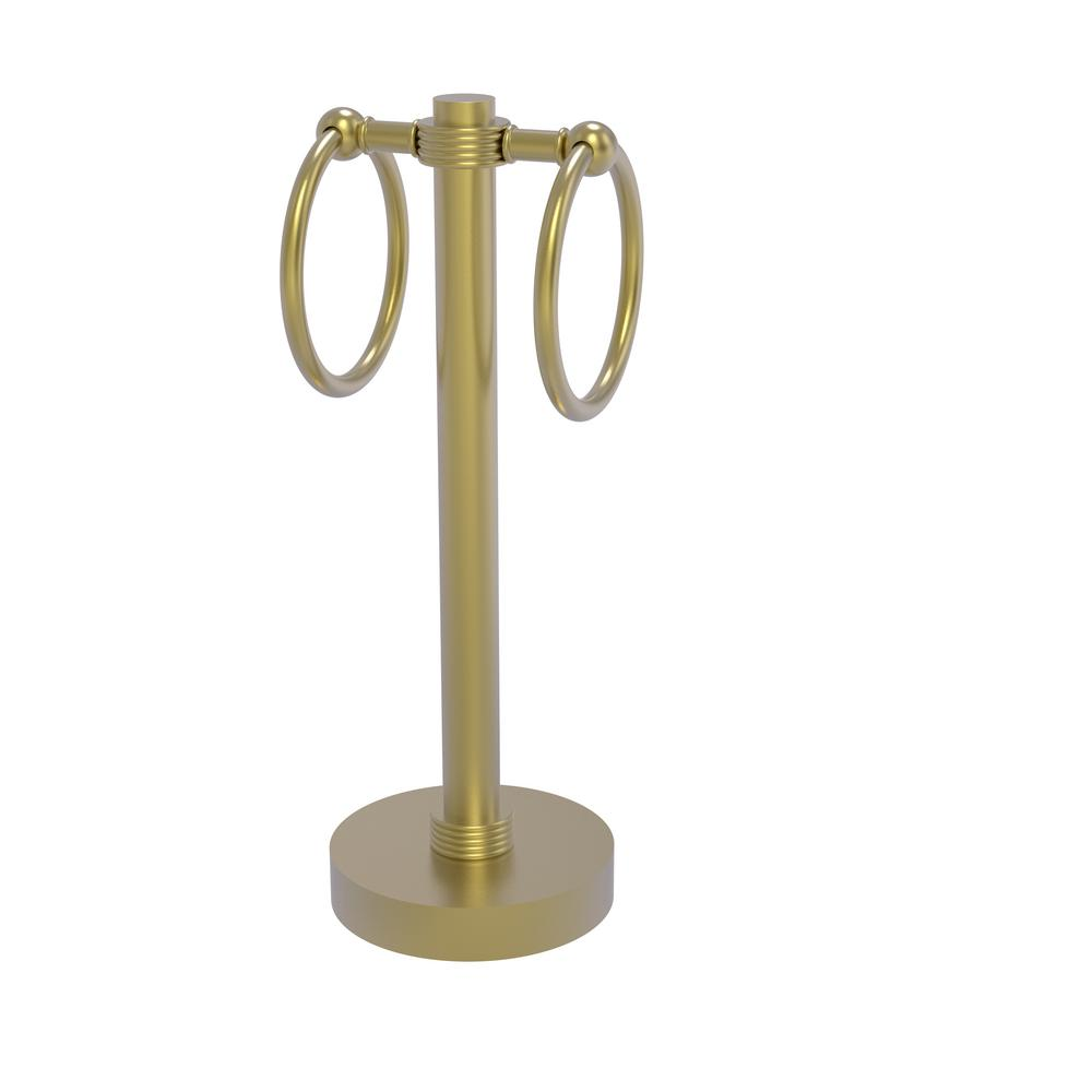 Allied Brass Vanity Top 2 Towel Ring Guest Towel Holder with Groovy Accents in Satin Brass