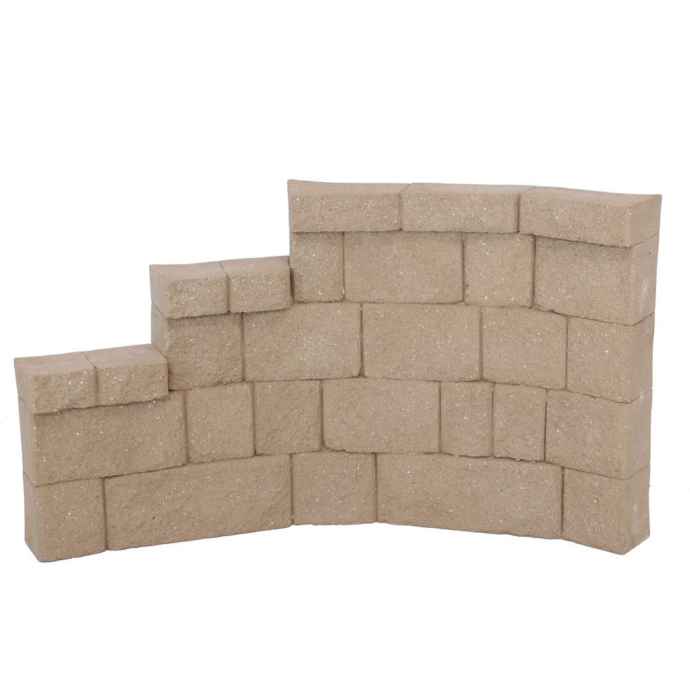 FIBERBLOXX 31.5 in. H x 6 in. D Brown Fiberglass Landscape Retaining Wall Left Curve Panel (1-Piece)