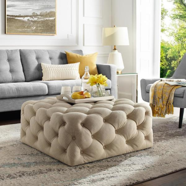 Coffee Table Ottoman.Lester Cocktail Table Ottoman Beige Linen Tufted Allover Square Caster Leg
