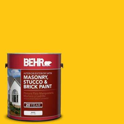 1 gal. #P300-7 Unmellow Yellow Satin Interior/Exterior Masonry, Stucco and Brick Paint