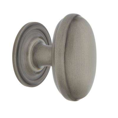 Homestead 1-1/8 in. Antique Pewter Brass Cabinet Knob with Classic Rose