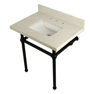 Square-Sink Washstand 30 in. Console Table in White Quartz with Metal Legs in Matte Black