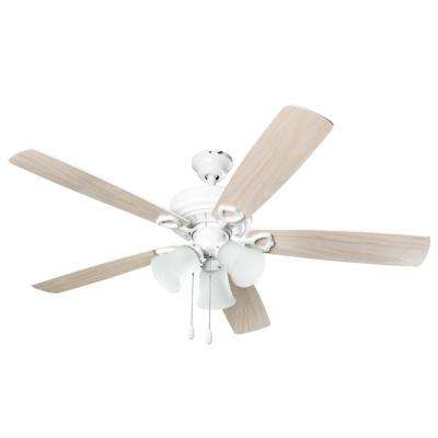 3-Light 52 in. Indoor Light Wood White Ceiling Fan With Light Kit