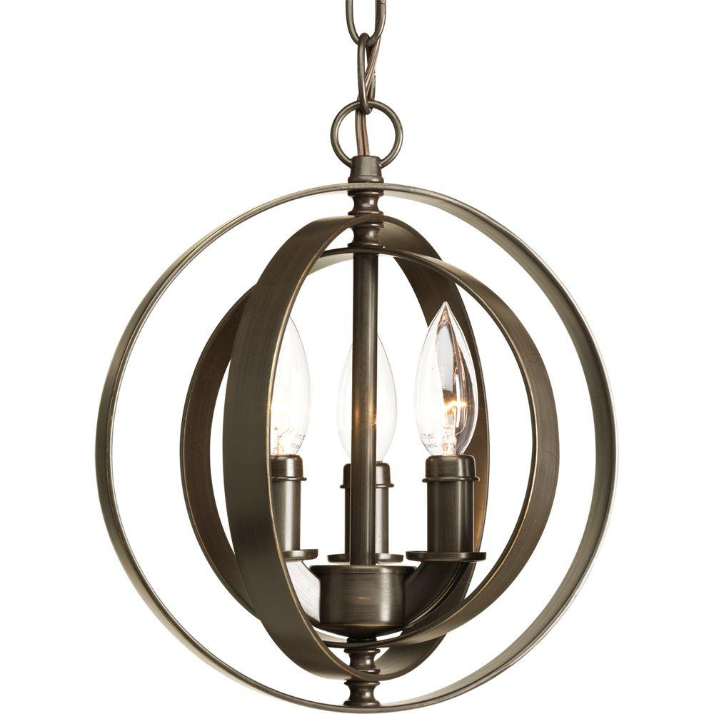 Equinox Collection 3-Light Antique Bronze Orb Pendant