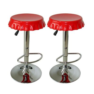 Retro Style Soda Cap Adjustable Height Chrome Bar Stool (Set of 2)
