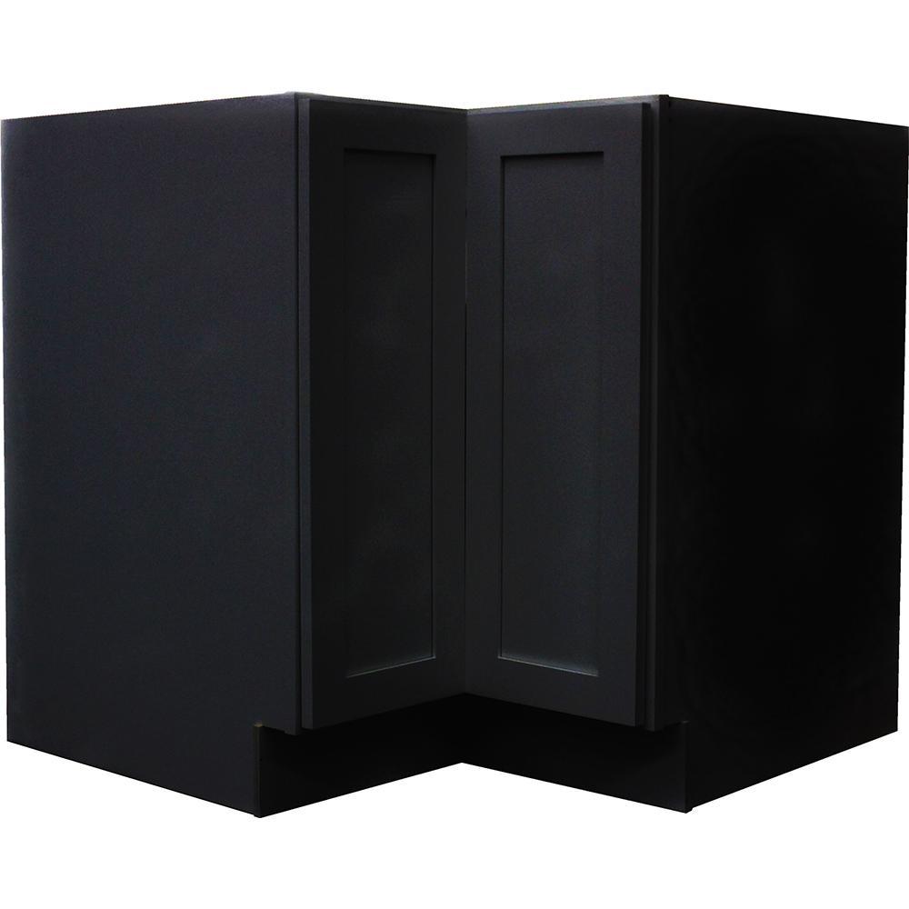 Krosswood doors black satin shaker ii bi fold lasy susan ready to assemble 36x34