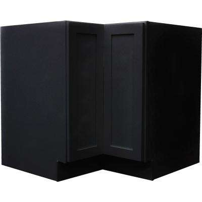 Black Satin Shaker II - Bi-fold Lasy Susan Ready to Assemble 36x34.5x36 in. Base Corner Cabinet with Trays in Black