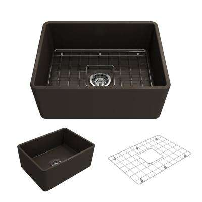 Classico Farmhouse Apron Front Fireclay 24 in. L Single Bowl Kitchen Sink with Bottom Grid and Strainer in Matte Brown