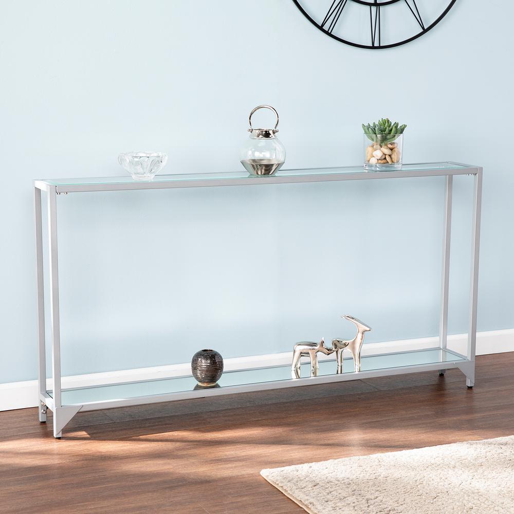 Greene Silver Narrow Metal Console Table