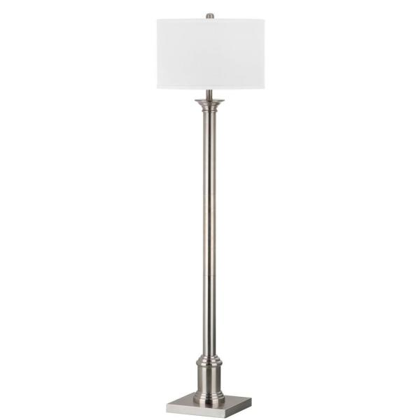 Livia 60 in. Nickel Floor Lamp with Off-White Shade