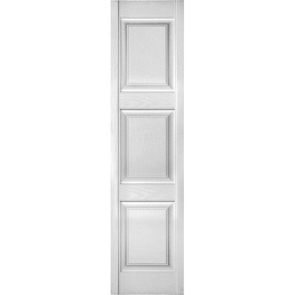 Ekena Millwork 14 1 2 In X 53 In Lifetime Vinyl Custom 3 Equal Raised Panel Shutters Pair Paintable Lp4c14x05300pg The Home Depot