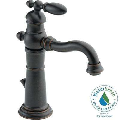 Victorian Single Hole Single-Handle Bathroom Faucet with Metal Drain Assembly in Venetian Bronze